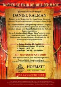 Magic Dinner Hofmatt mit Daniel Kalman 26.04.2018 - Rückseite